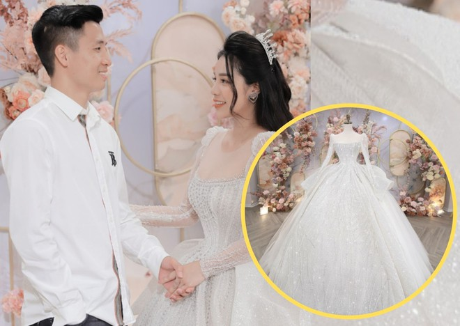 Bà xã hot girl của Bùi Tiến Dũng đấu giá váy cưới trăm triệu làm từ thiện