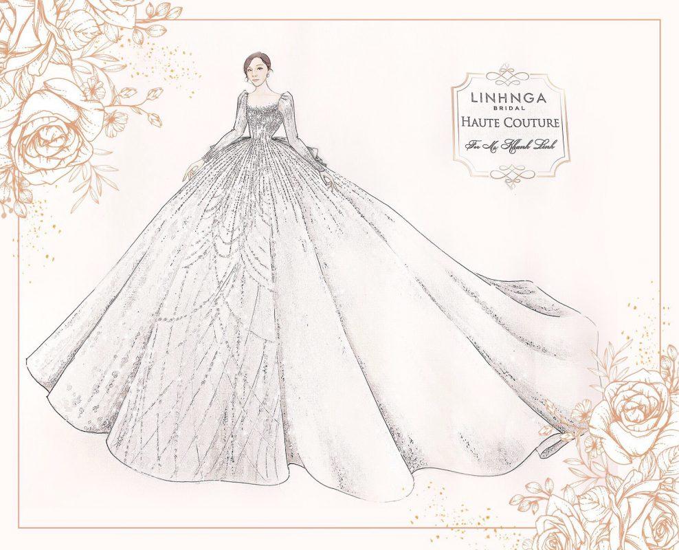 Linh Nga Bridal hé lộ chiếc váy cưới đầu tiên của cô dâu Khánh Linh - vợ trung vệ Bùi Tiến Dũng